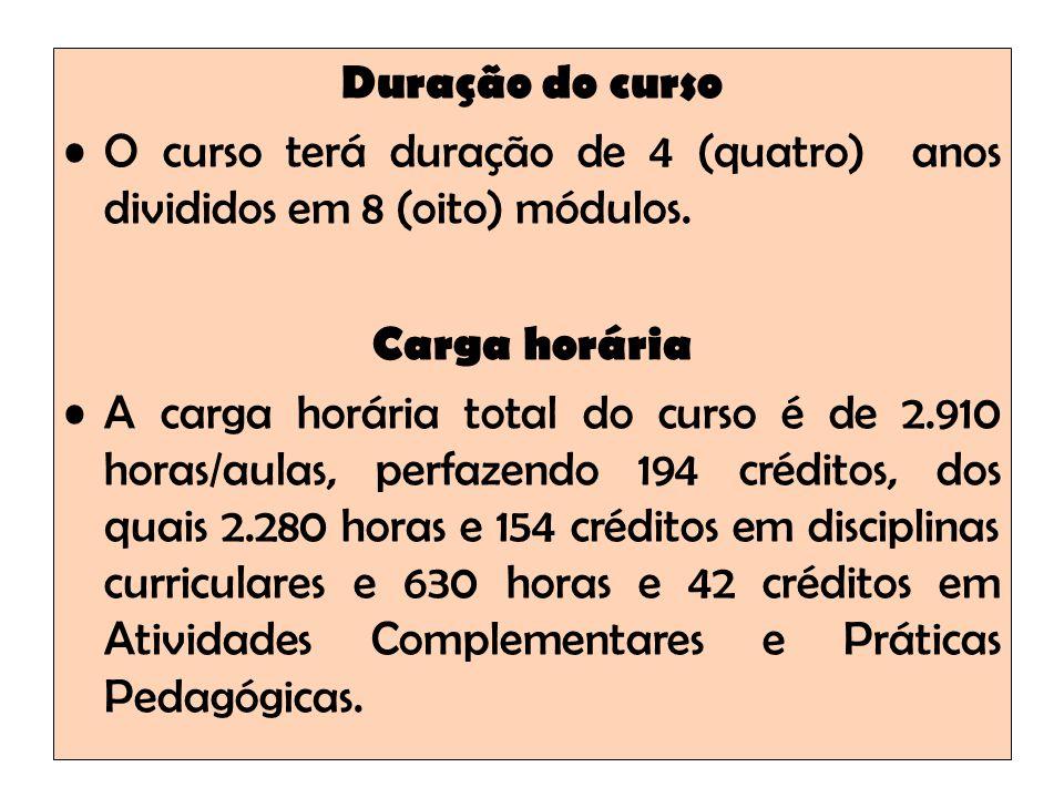 Duração do curso O curso terá duração de 4 (quatro) anos divididos em 8 (oito) módulos. Carga horária.