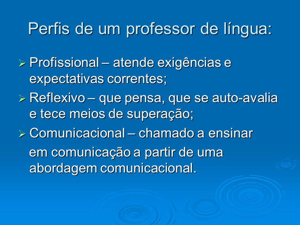Perfis de um professor de língua: