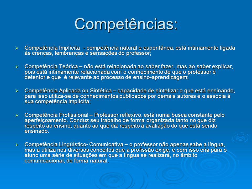 Competências: Competência Implícita - competência natural e espontânea, está intimamente ligada às crenças, lembranças e sensações do professor;