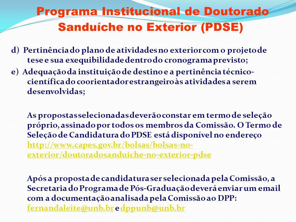 Programa Institucional de Doutorado Sanduíche no Exterior (PDSE)