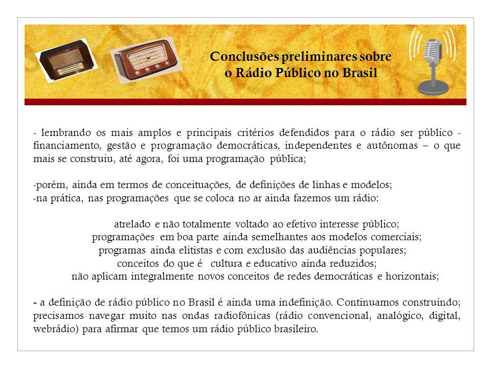 Conclusões preliminares sobre o Rádio Público no Brasil