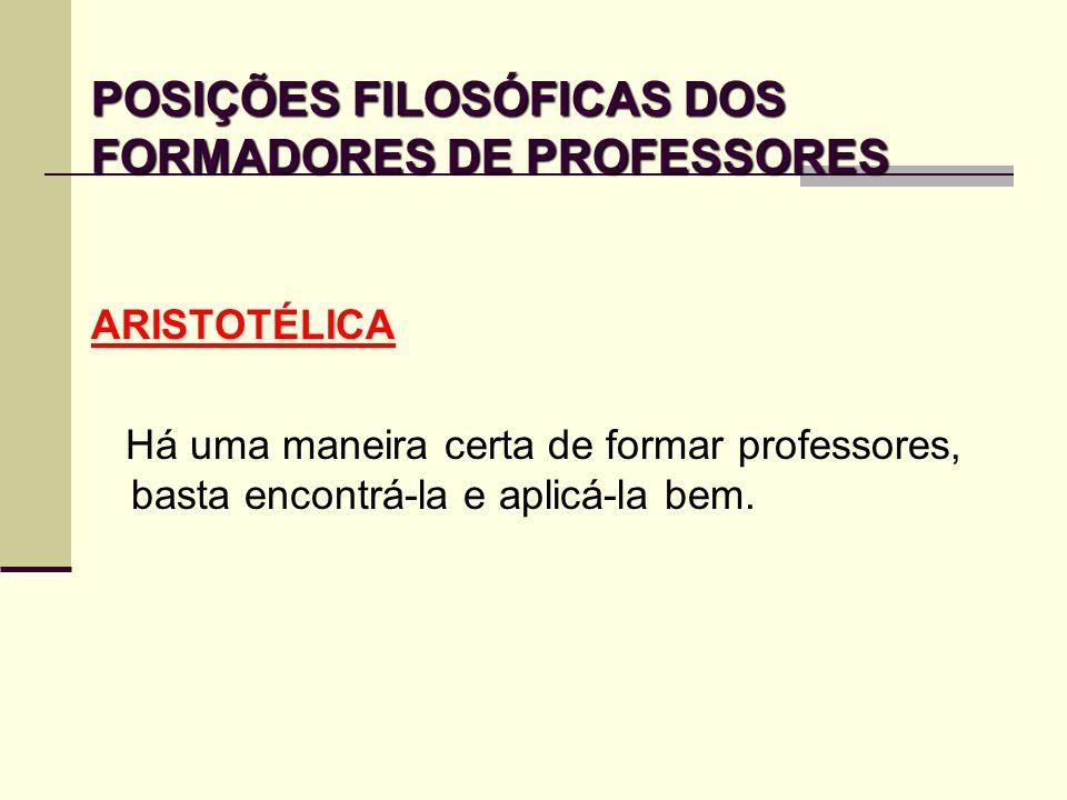 POSIÇÕES FILOSÓFICAS DOS FORMADORES DE PROFESSORES