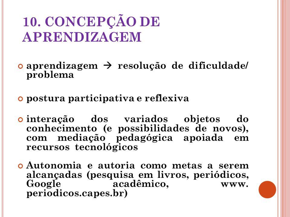 10. CONCEPÇÃO DE APRENDIZAGEM