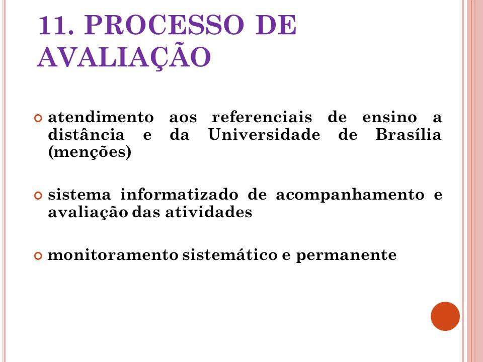 11. PROCESSO DE AVALIAÇÃO atendimento aos referenciais de ensino a distância e da Universidade de Brasília (menções)