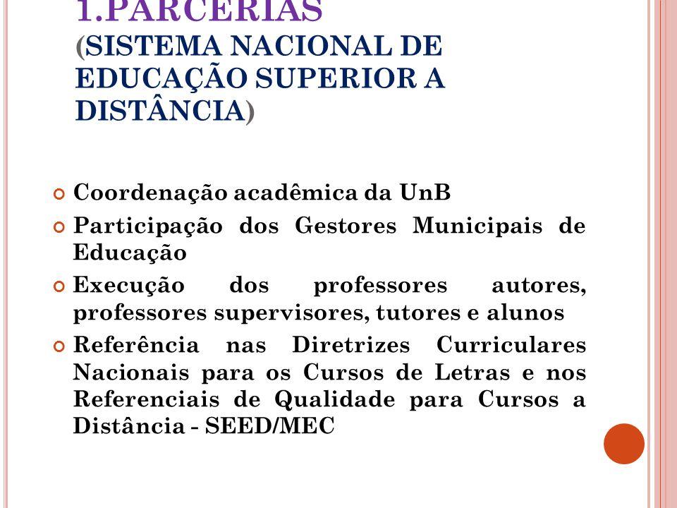 1.PARCERIAS (SISTEMA NACIONAL DE EDUCAÇÃO SUPERIOR A DISTÂNCIA)