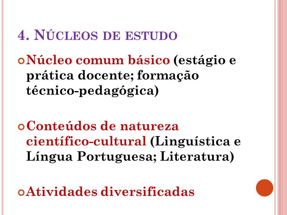 4. Núcleos de estudo Núcleo comum básico (estágio e prática docente; formação técnico-pedagógica)