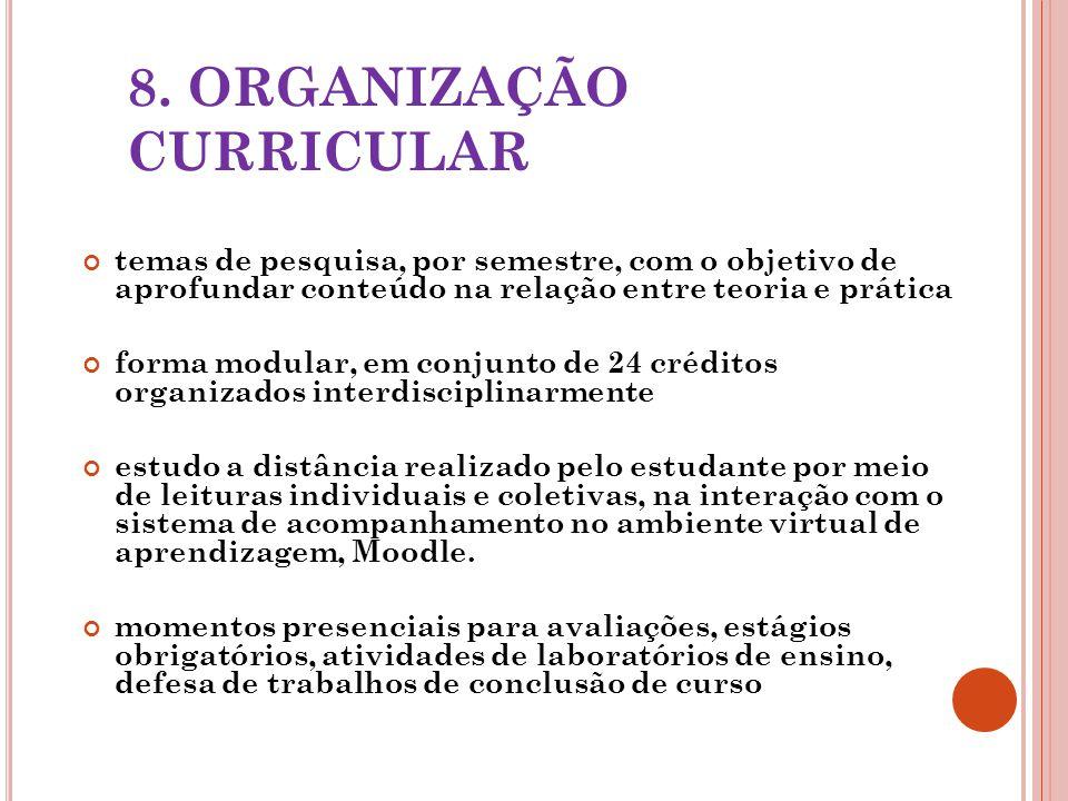 8. ORGANIZAÇÃO CURRICULAR