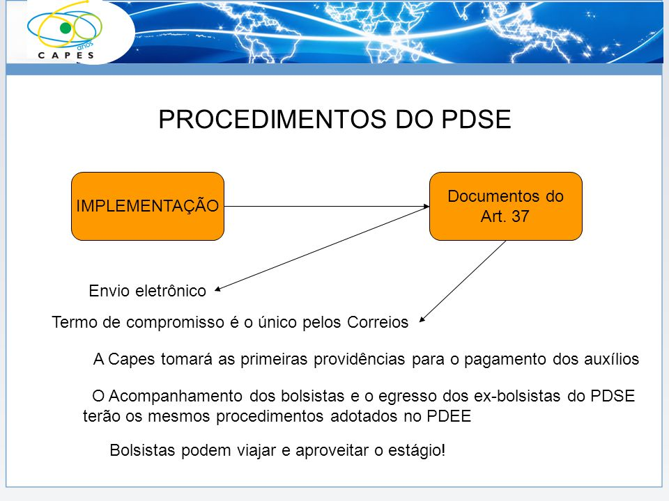 PROCEDIMENTOS DO PDSE Documentos do IMPLEMENTAÇÃO Art. 37