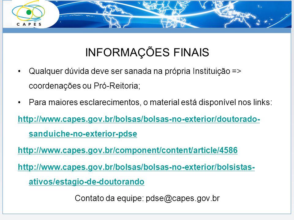 Contato da equipe: pdse@capes.gov.br