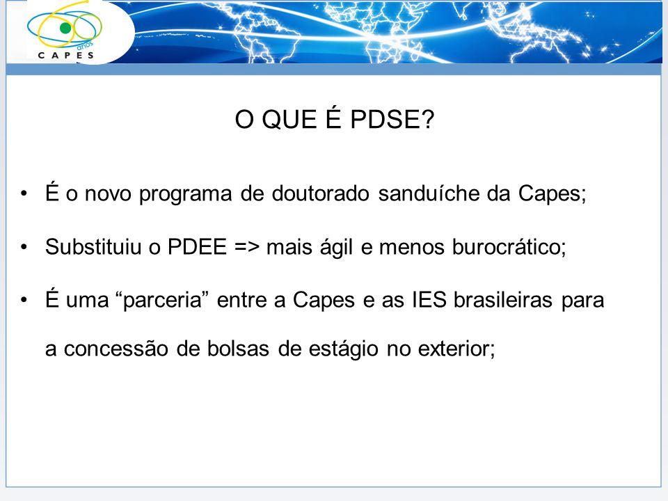 O QUE É PDSE É o novo programa de doutorado sanduíche da Capes;