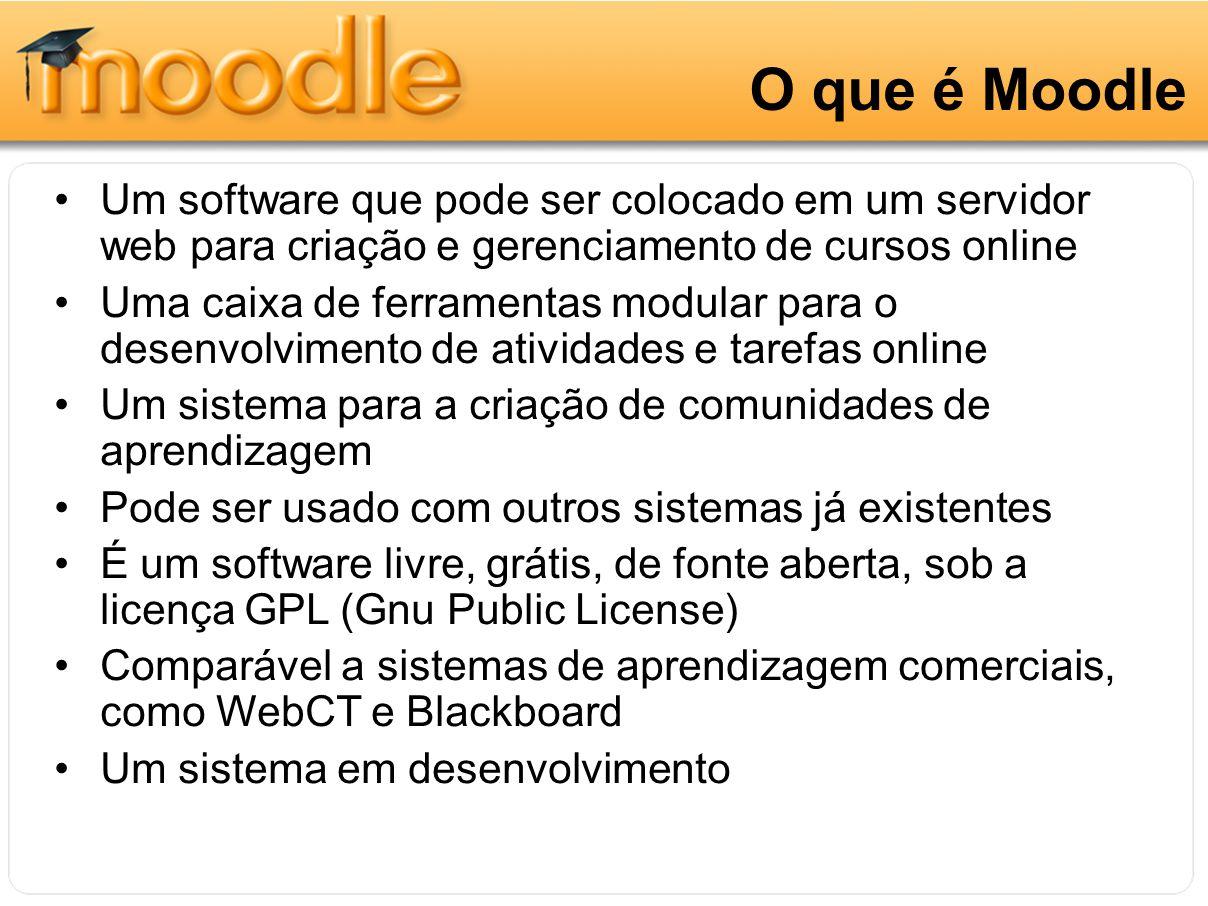 O que é Moodle Um software que pode ser colocado em um servidor web para criação e gerenciamento de cursos online.