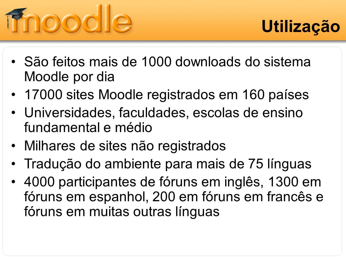 Utilização São feitos mais de 1000 downloads do sistema Moodle por dia