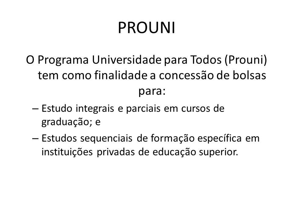 PROUNI O Programa Universidade para Todos (Prouni) tem como finalidade a concessão de bolsas para: