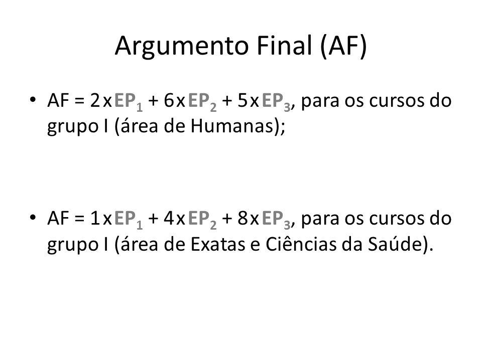 Argumento Final (AF) AF = 2 x EP1 + 6 x EP2 + 5 x EP3, para os cursos do grupo I (área de Humanas);