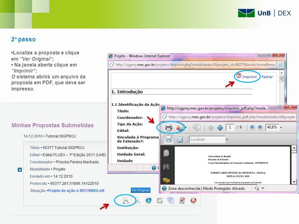 2º passo Localize a proposta e clique em Ver Original ;