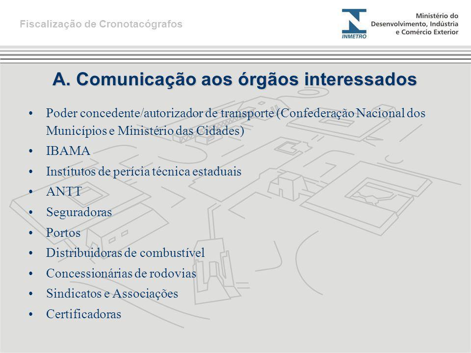 A. Comunicação aos órgãos interessados