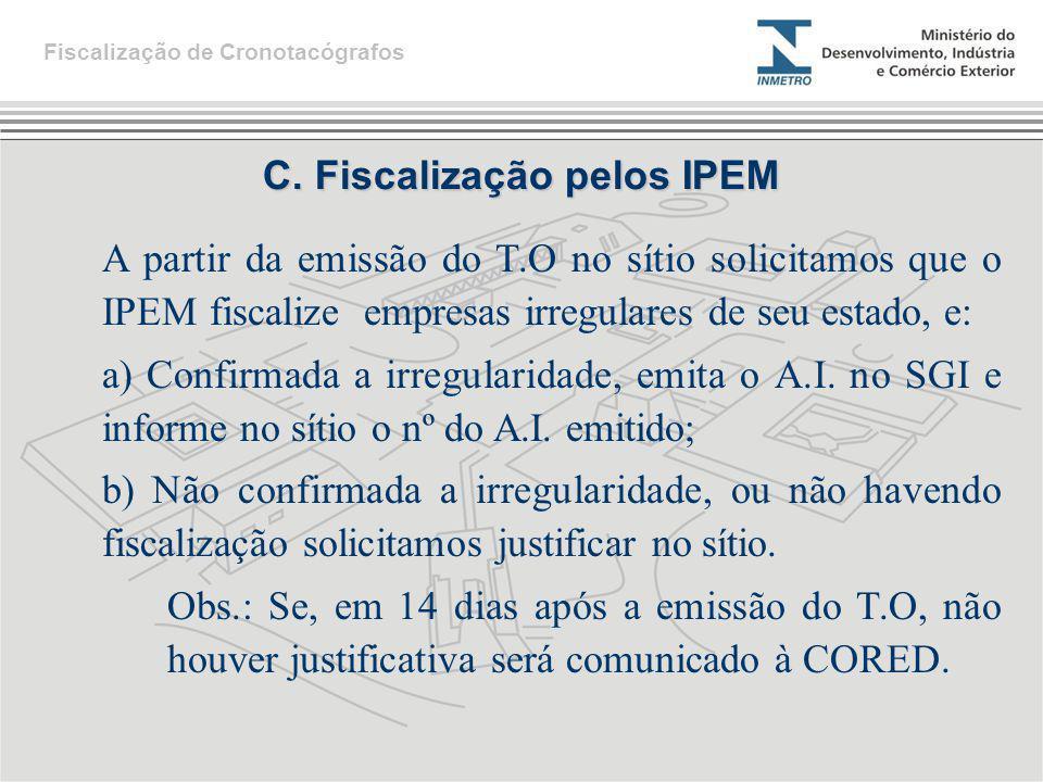 C. Fiscalização pelos IPEM
