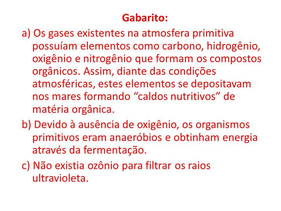 Gabarito: a) Os gases existentes na atmosfera primitiva possuíam elementos como carbono, hidrogênio, oxigênio e nitrogênio que formam os compostos orgânicos.