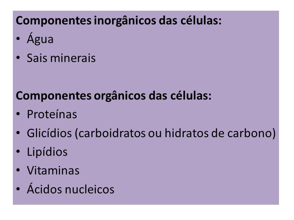 Componentes inorgânicos das células: