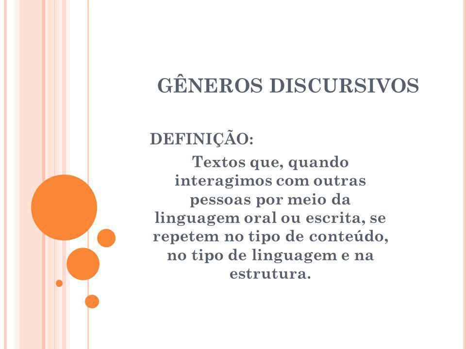GÊNEROS DISCURSIVOS DEFINIÇÃO: