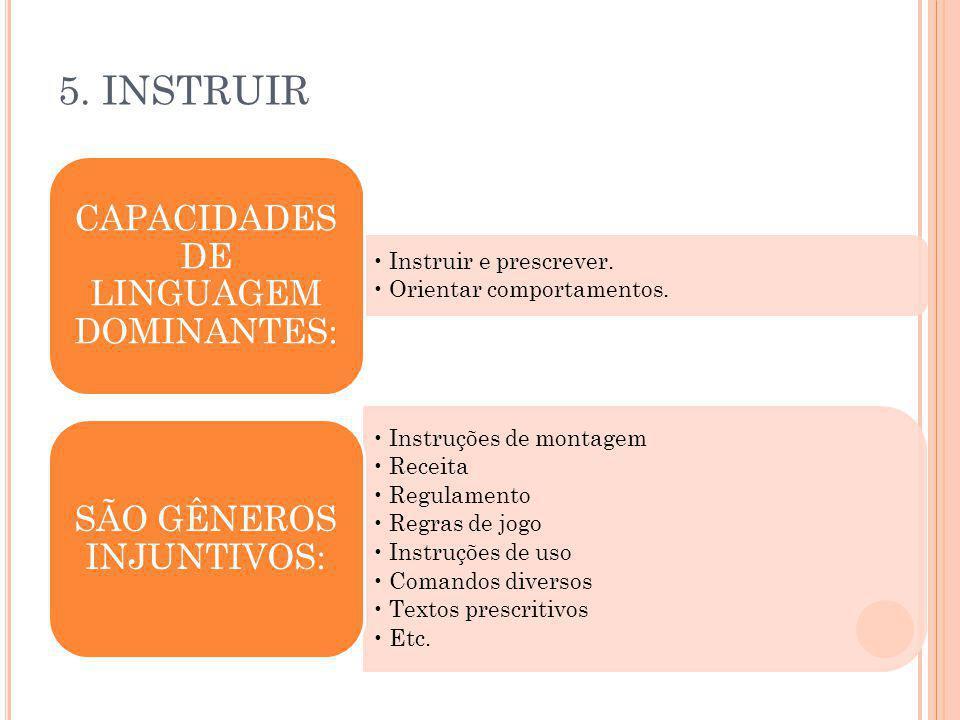 5. INSTRUIR CAPACIDADES DE LINGUAGEM DOMINANTES: