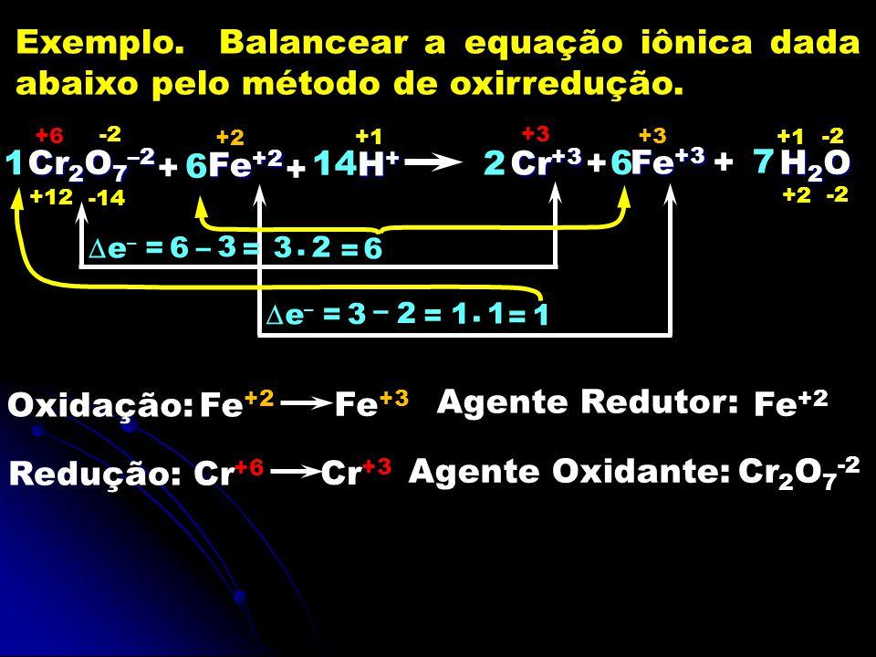 Exemplo. Balancear a equação iônica dada abaixo pelo método de oxirredução.