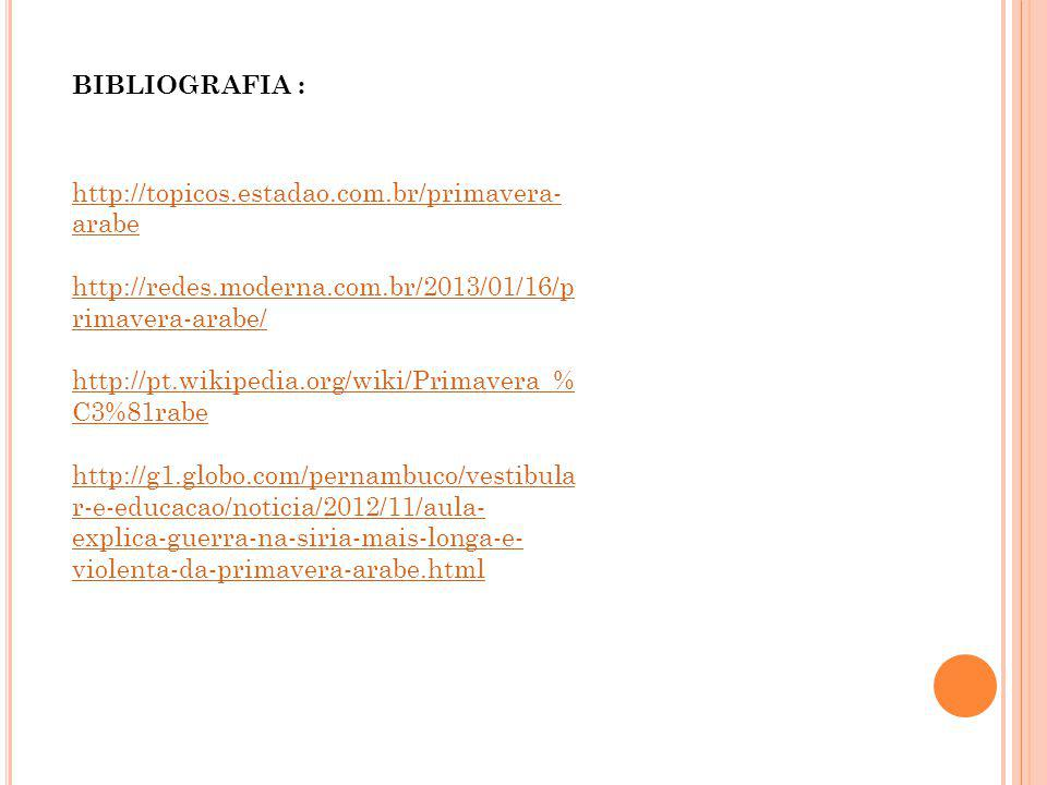 BIBLIOGRAFIA : http://topicos.estadao.com.br/primavera-arabe. http://redes.moderna.com.br/2013/01/16/primavera-arabe/