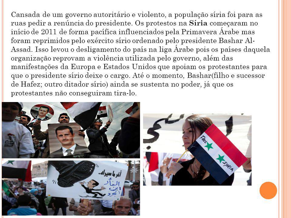 Cansada de um governo autoritário e violento, a população síria foi para as ruas pedir a renúncia do presidente.