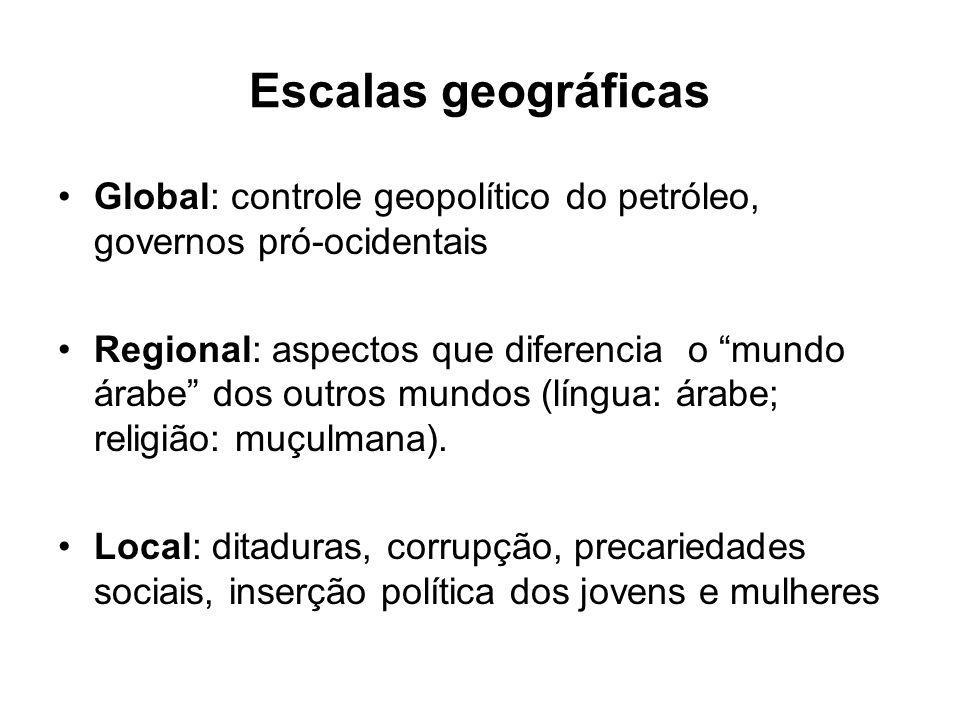 Escalas geográficas Global: controle geopolítico do petróleo, governos pró-ocidentais.