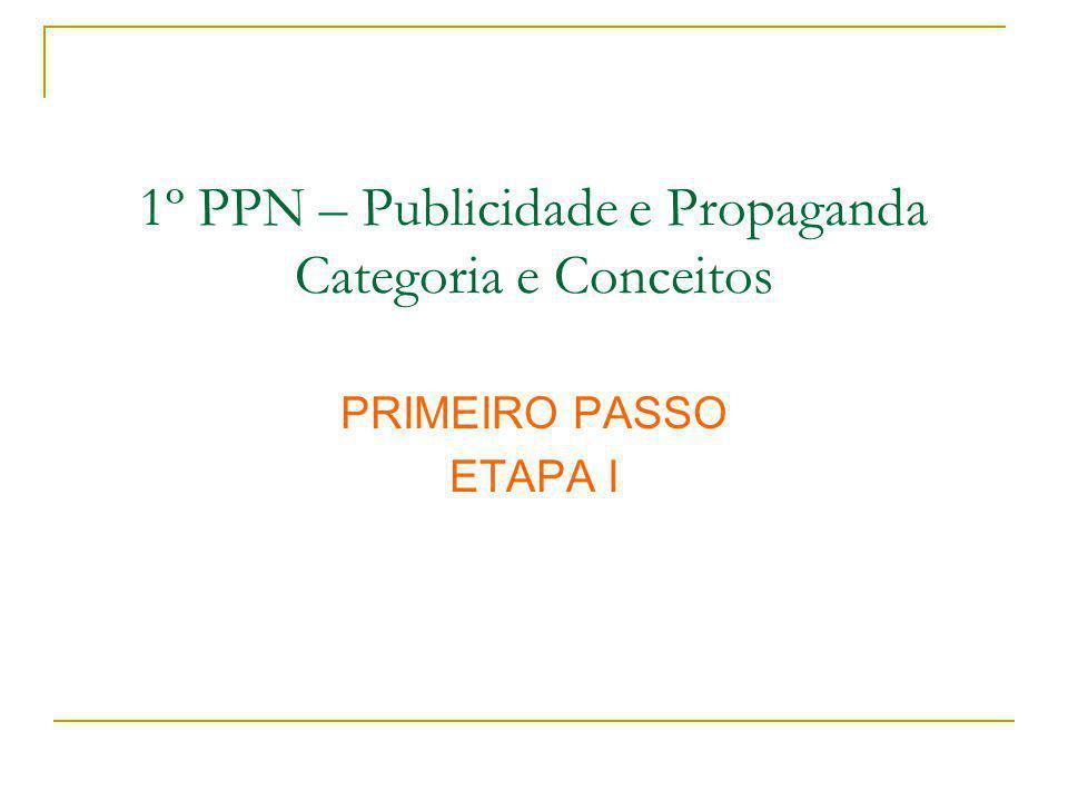 1º PPN – Publicidade e Propaganda Categoria e Conceitos