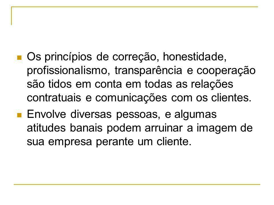 Os princípios de correção, honestidade, profissionalismo, transparência e cooperação são tidos em conta em todas as relações contratuais e comunicações com os clientes.