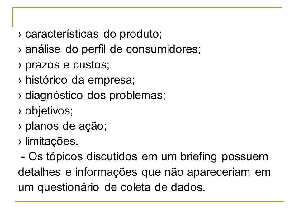 › características do produto;