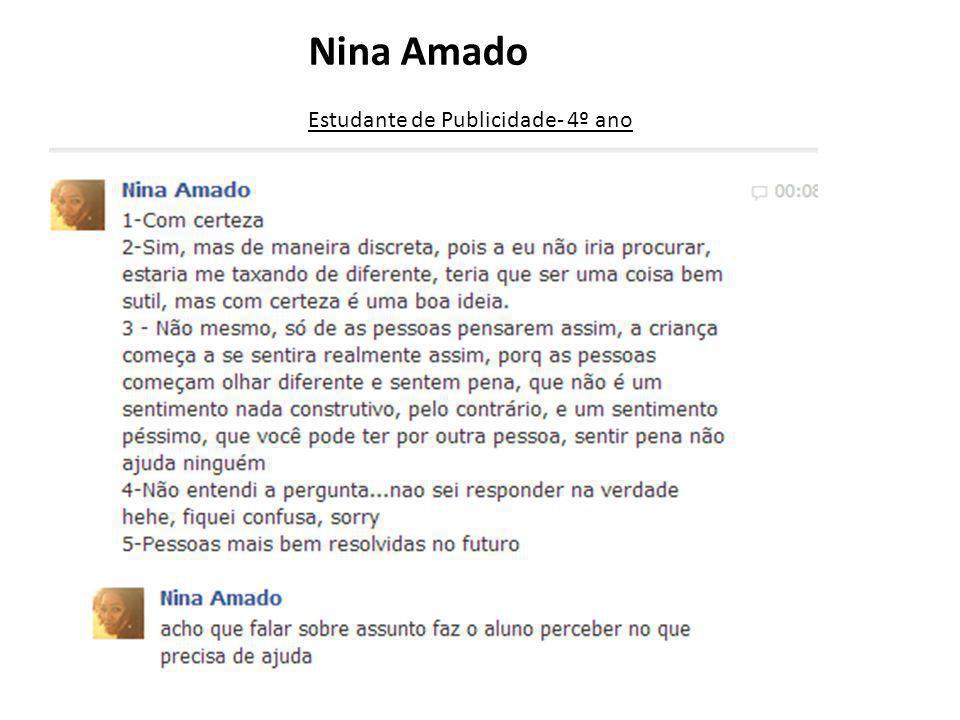 Nina Amado Estudante de Publicidade- 4º ano