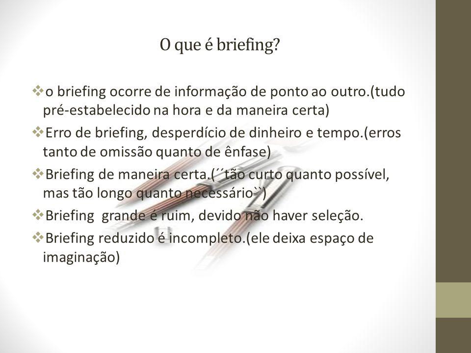 O que é briefing o briefing ocorre de informação de ponto ao outro.(tudo pré-estabelecido na hora e da maneira certa)