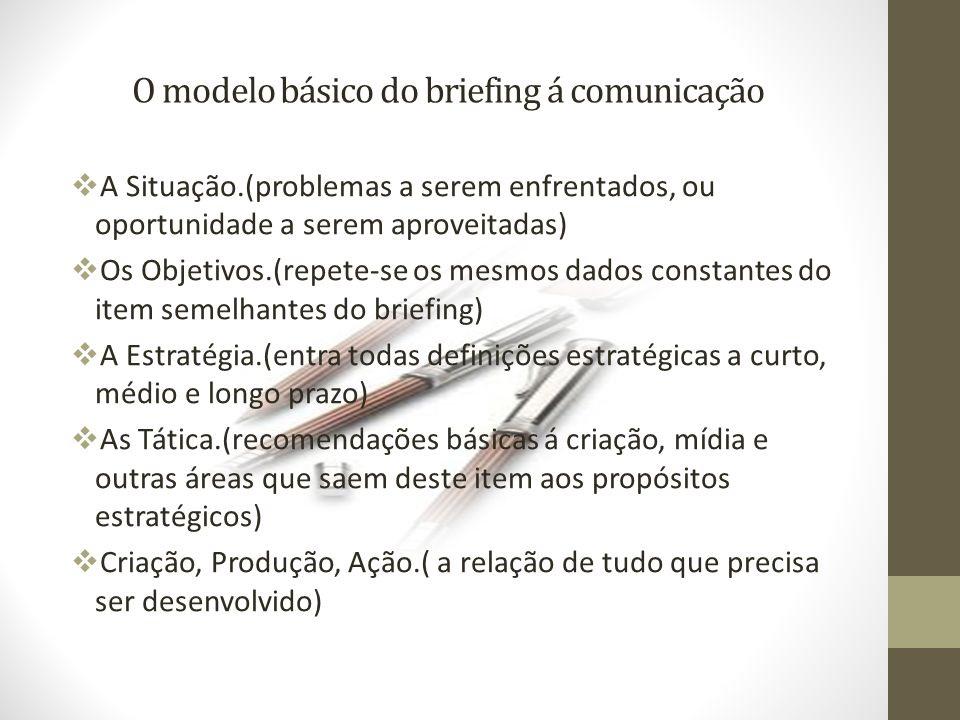 O modelo básico do briefing á comunicação