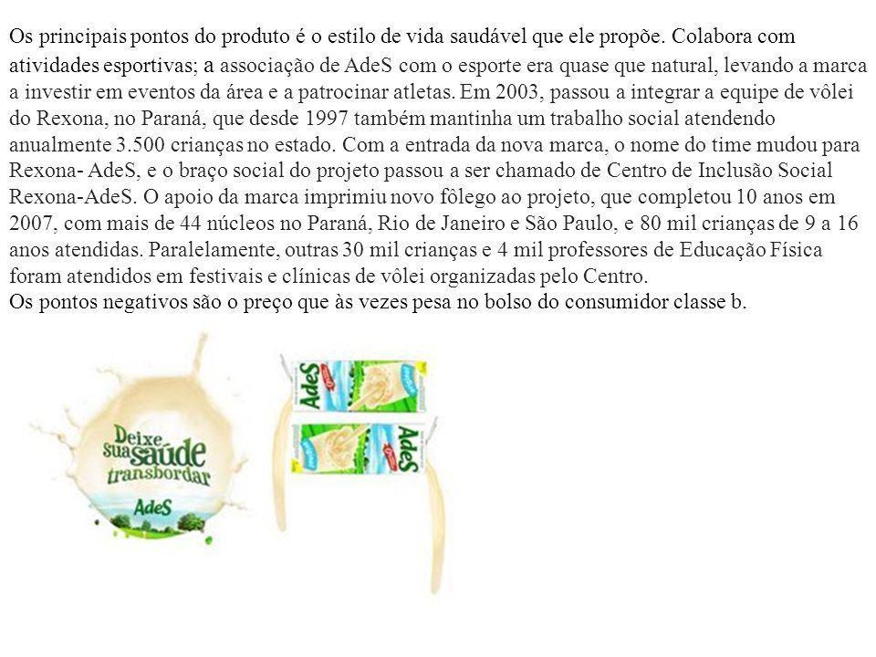 Os principais pontos do produto é o estilo de vida saudável que ele propõe. Colabora com atividades esportivas; a associação de AdeS com o esporte era quase que natural, levando a marca a investir em eventos da área e a patrocinar atletas. Em 2003, passou a integrar a equipe de vôlei do Rexona, no Paraná, que desde 1997 também mantinha um trabalho social atendendo anualmente 3.500 crianças no estado. Com a entrada da nova marca, o nome do time mudou para Rexona- AdeS, e o braço social do projeto passou a ser chamado de Centro de Inclusão Social Rexona-AdeS. O apoio da marca imprimiu novo fôlego ao projeto, que completou 10 anos em 2007, com mais de 44 núcleos no Paraná, Rio de Janeiro e São Paulo, e 80 mil crianças de 9 a 16 anos atendidas. Paralelamente, outras 30 mil crianças e 4 mil professores de Educação Física foram atendidos em festivais e clínicas de vôlei organizadas pelo Centro.