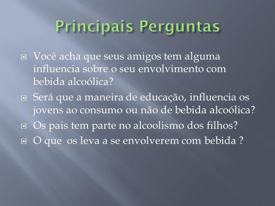 Principais Perguntas Você acha que seus amigos tem alguma influencia sobre o seu envolvimento com bebida alcoólica