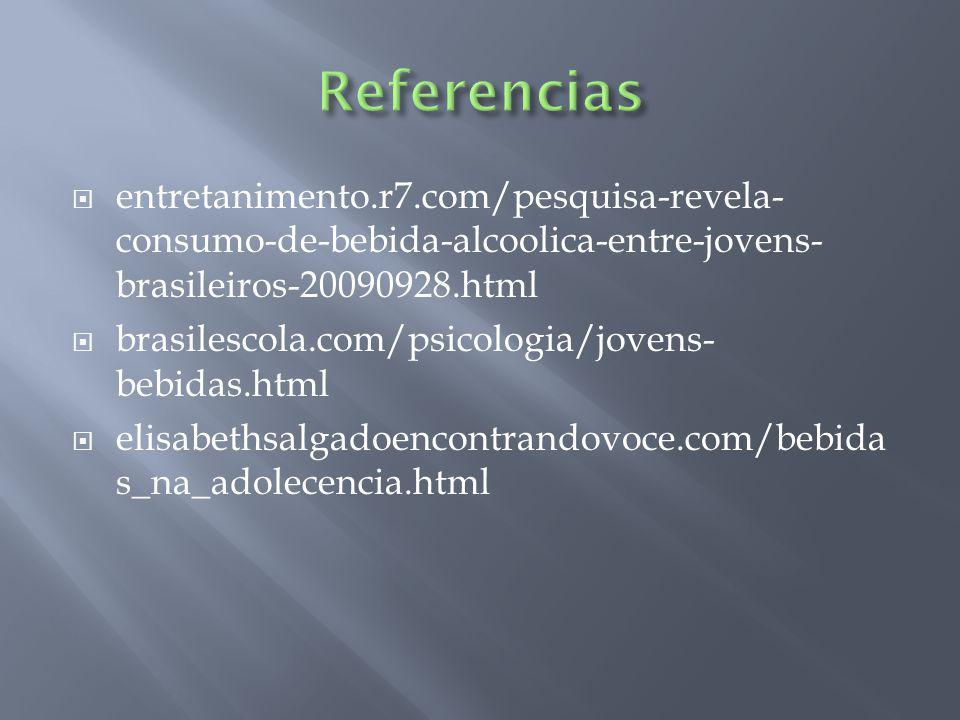 Referencias entretanimento.r7.com/pesquisa-revela-consumo-de-bebida-alcoolica-entre-jovens-brasileiros-20090928.html.