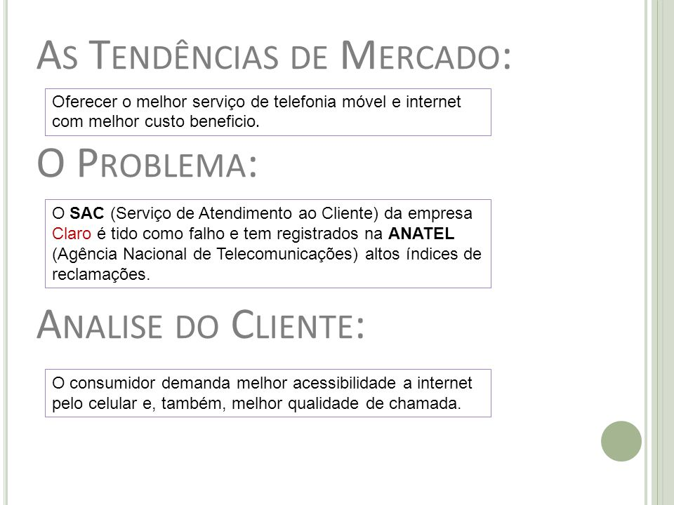 As Tendências de Mercado: O Problema: Analise do Cliente: