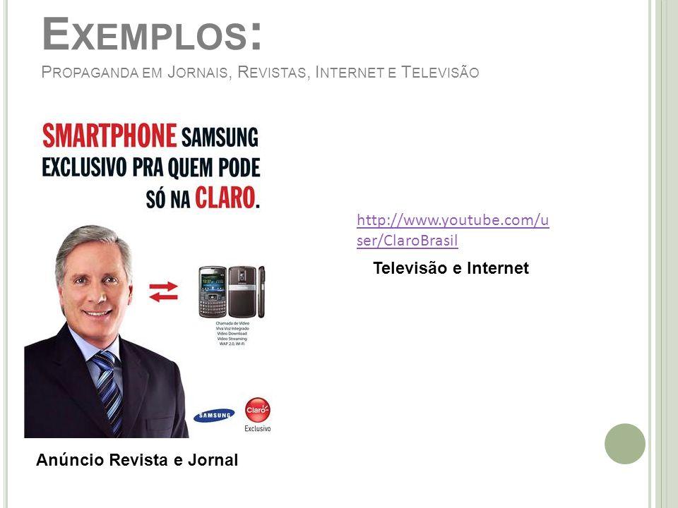 Exemplos: Propaganda em Jornais, Revistas, Internet e Televisão