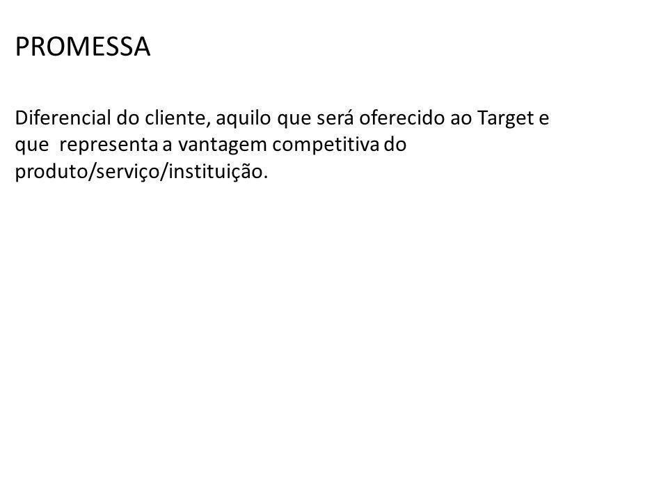 PROMESSA Diferencial do cliente, aquilo que será oferecido ao Target e que representa a vantagem competitiva do produto/serviço/instituição.