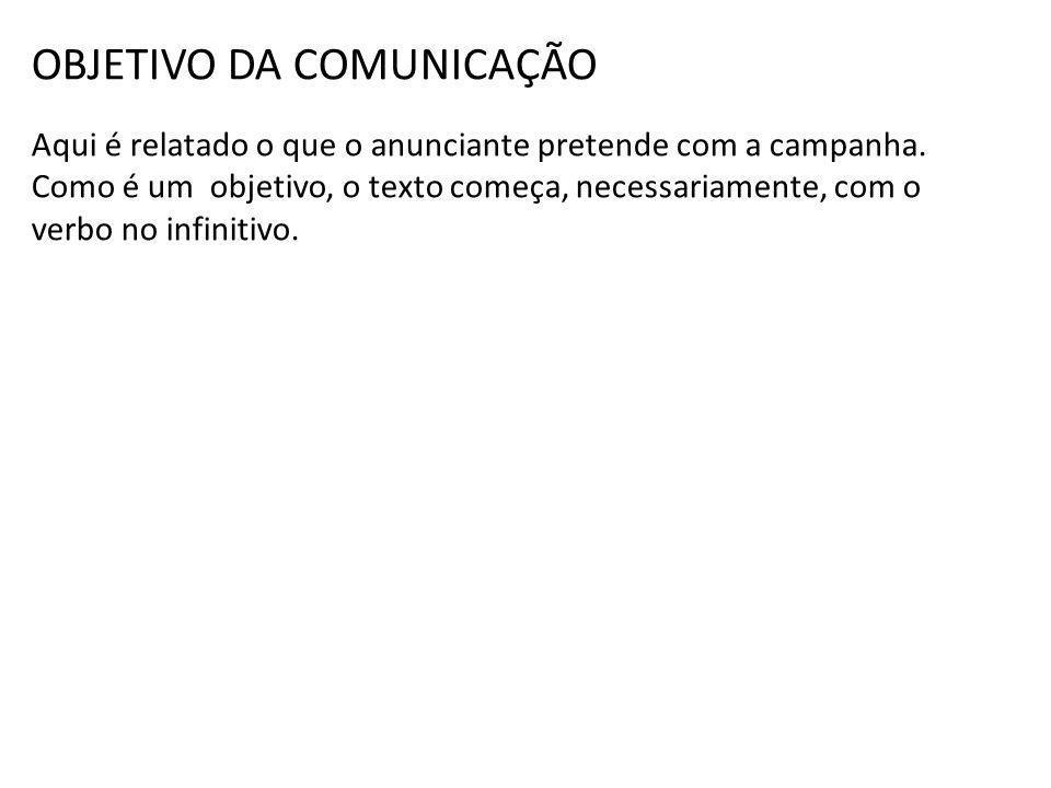 OBJETIVO DA COMUNICAÇÃO