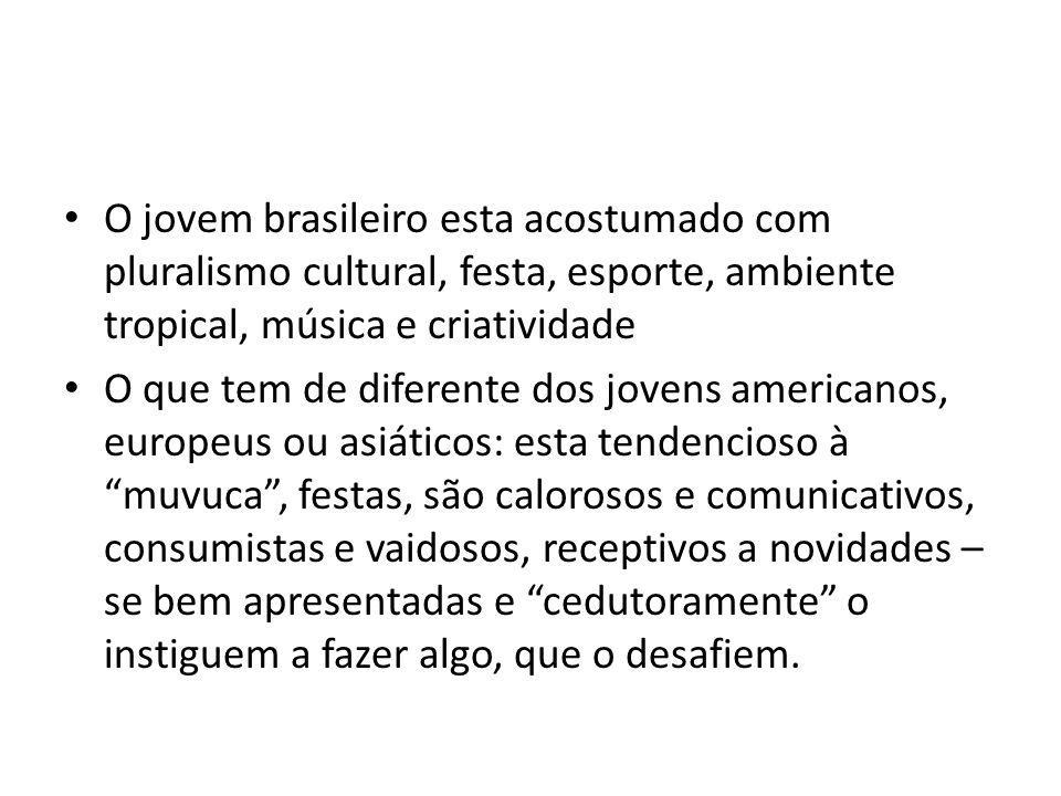 O jovem brasileiro esta acostumado com pluralismo cultural, festa, esporte, ambiente tropical, música e criatividade