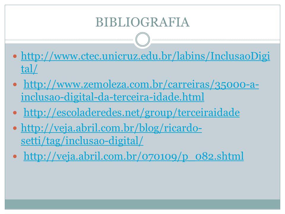 BIBLIOGRAFIA http://www.ctec.unicruz.edu.br/labins/InclusaoDigital/