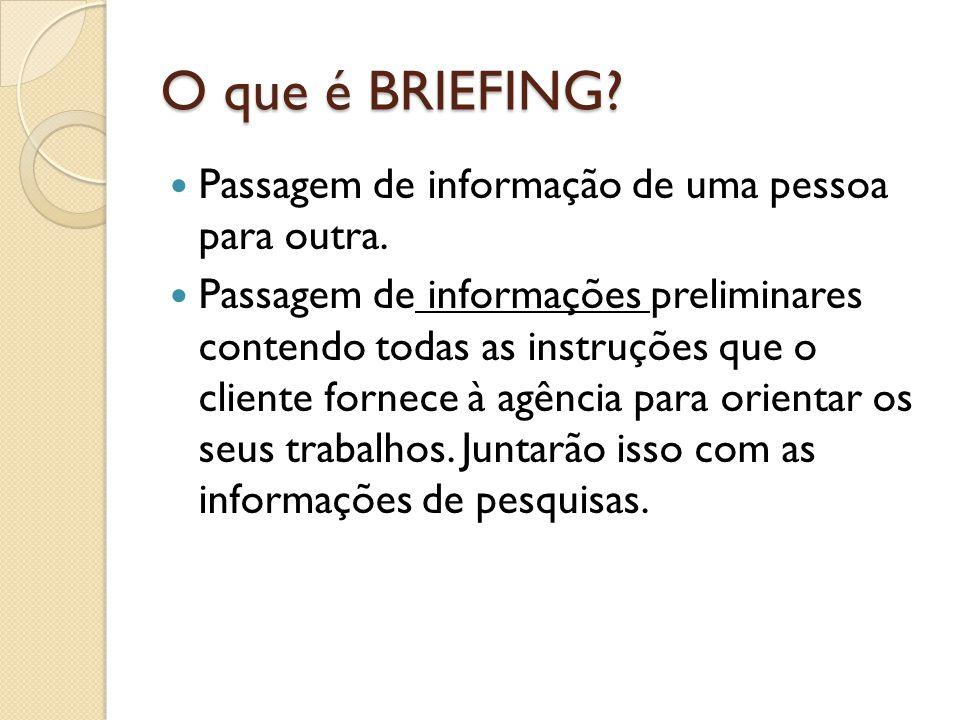 O que é BRIEFING Passagem de informação de uma pessoa para outra.