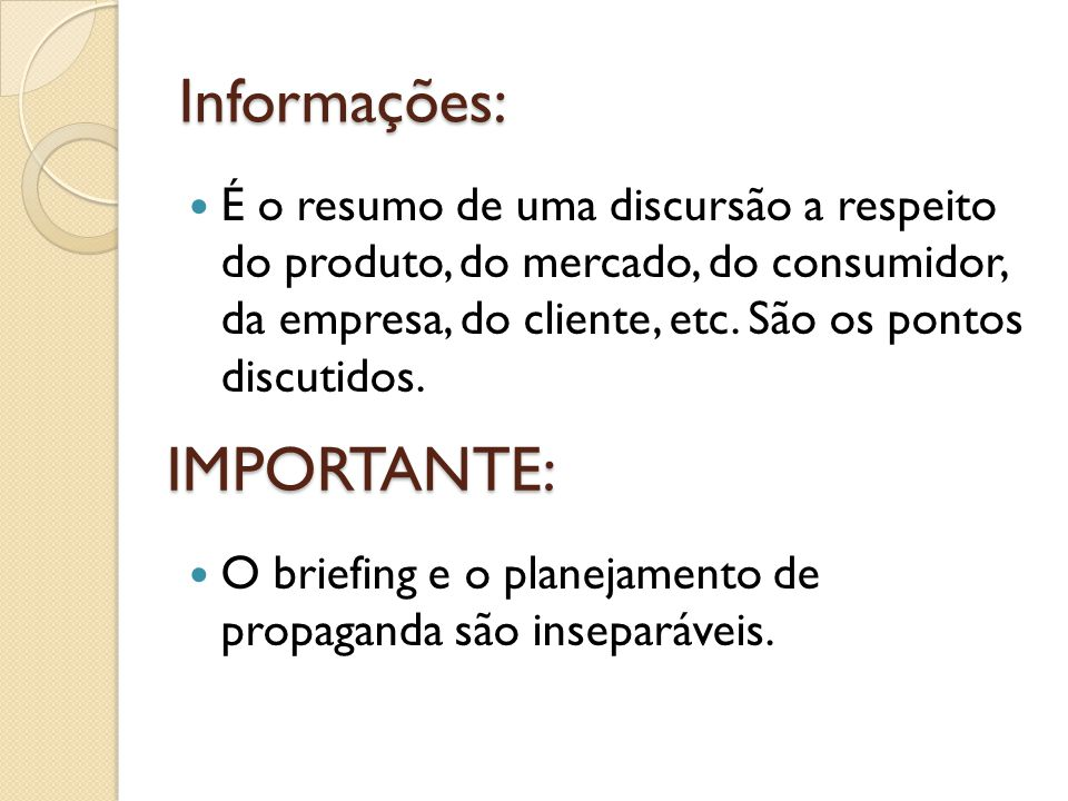 Informações: IMPORTANTE:
