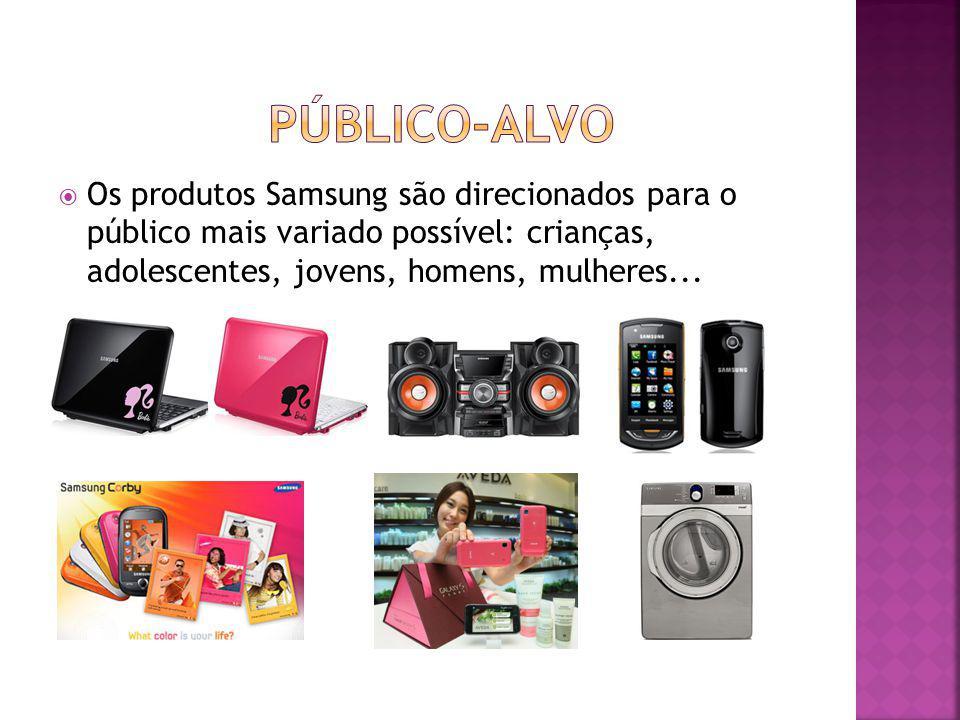 público-alvo Os produtos Samsung são direcionados para o público mais variado possível: crianças, adolescentes, jovens, homens, mulheres...