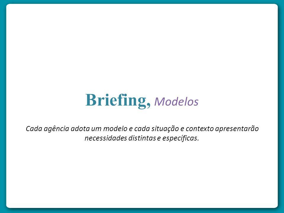 Briefing, Modelos Cada agência adota um modelo e cada situação e contexto apresentarão necessidades distintas e específicas.