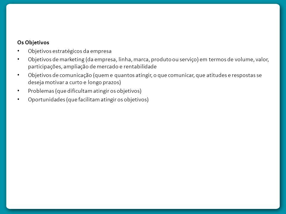 Os Objetivos Objetivos estratégicos da empresa.