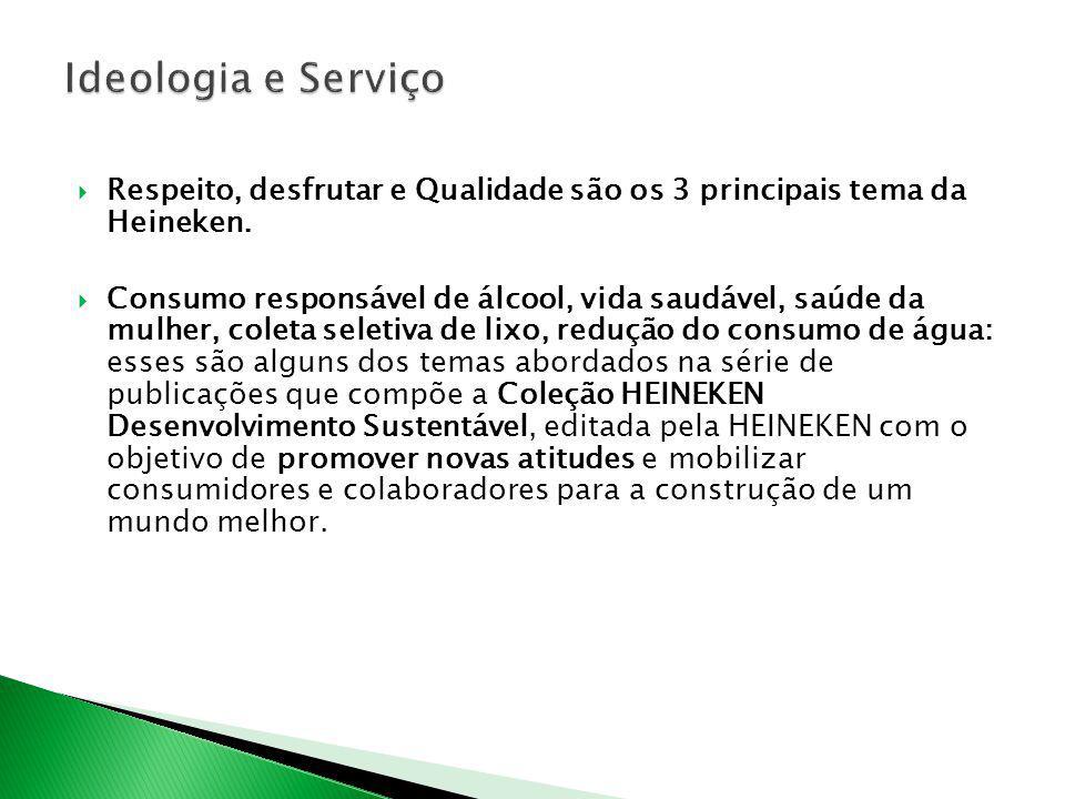 Ideologia e Serviço Respeito, desfrutar e Qualidade são os 3 principais tema da Heineken.